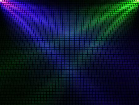 intersecting: Abstract  violet and green lights 3D mosaic horizontal background. Illustration