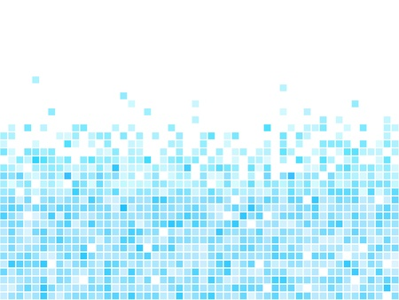 Abstract blue mosaic vector background with white copy space.