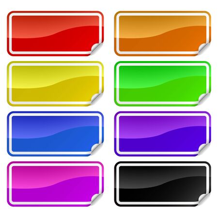 peeling corner: Colorful promotional rectangle stickers with peeling corner. Illustration