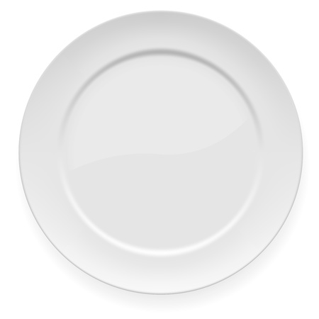 ordinary: illustration of blank white dinner plate isolated on white.