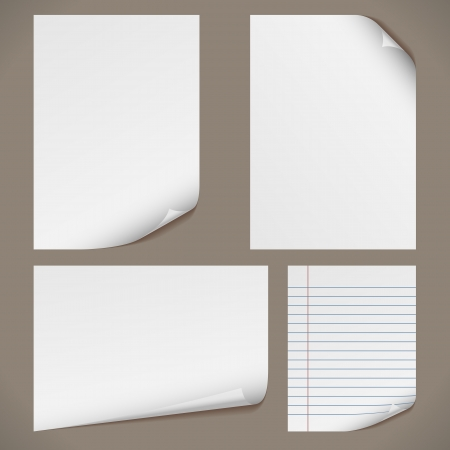 Blank A4 papers with curled corners and notepad lined page. Original proportions are kept. Vector