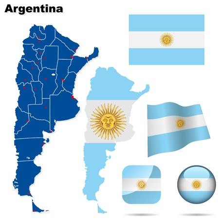 argentina: Argentina set. Detailed country shape with region borders, flags and icons isolated on white background.