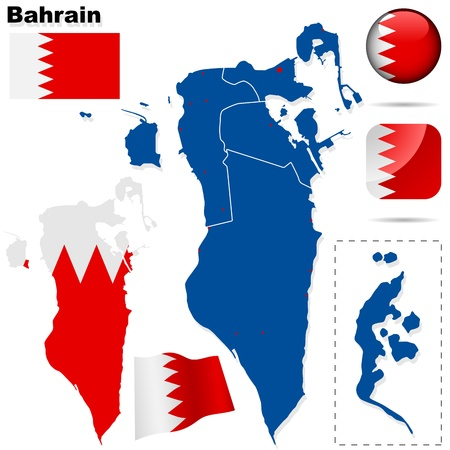 Bahrain vector set. Detailed country shape with region borders, flags and icons isolated on white background. Vector