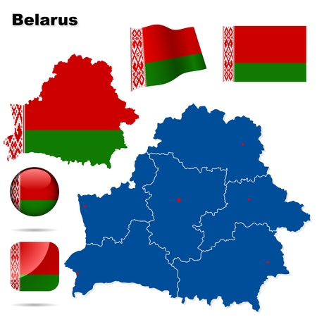 Belarus set. Detailed country shape with region borders, flags and icons isolated on white background. Stock Vector - 14713905