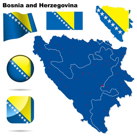 bosnia: Bosnia and Herzegovina set. Detailed country shape with region borders, flags and icons isolated on white background.