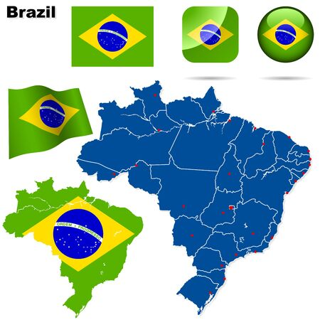 national border: Brazil set. Detailed country shape with region borders, flags and icons isolated on white background.