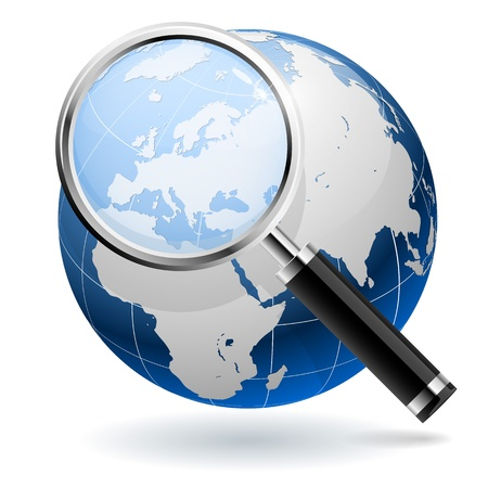 finding: Global search concept isolated on white background. EPS10 file.