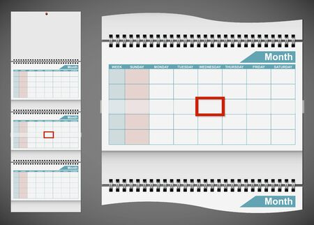 scheduler: Blank standard wall calendar template isolated on gray background. EPS10 file. Illustration