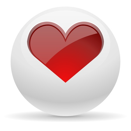 3d button: 3D white button with red heart vector illustration.