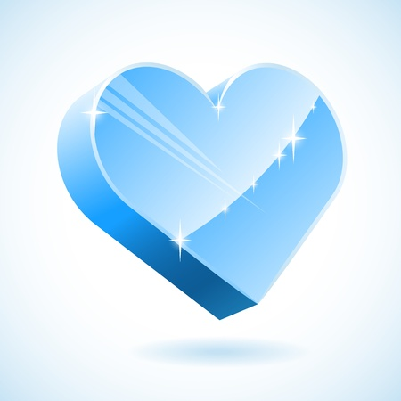 3D ice heart vector illustration. Vector