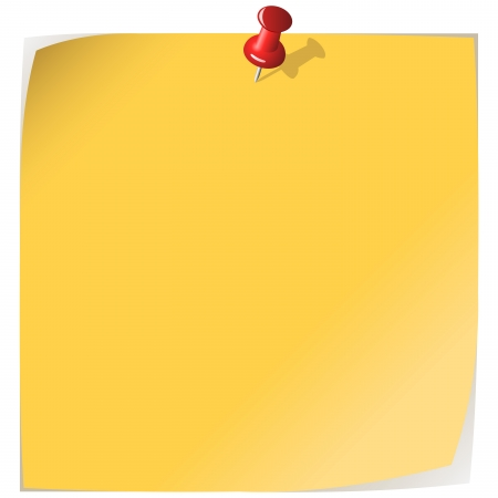 Pinned yellow note paper isolated on white. Vector