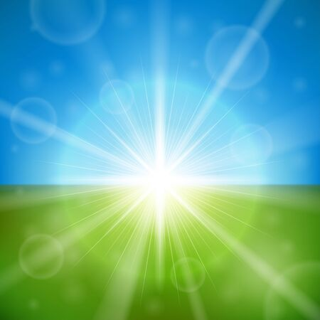 Bright summer sun vector background. Stock Vector - 14875423