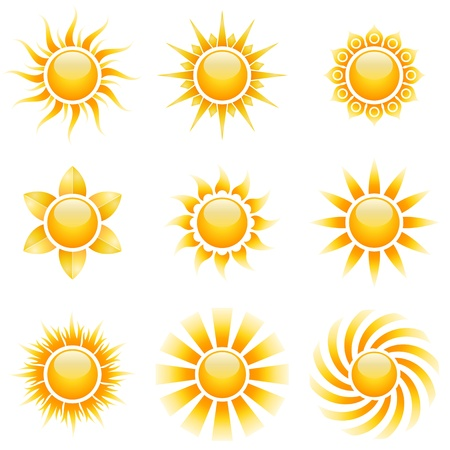 vibrant colors fun: Yellow sun vector icons isolated on white background.