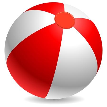 Rood en wit strand bal geà ¯ soleerd op witte achtergrond.