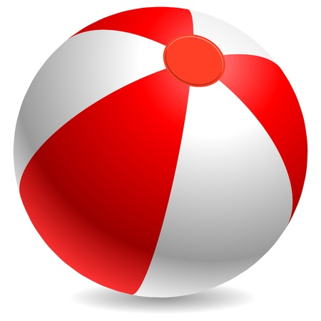 Red and white beach ball isolated on white background  Ilustracja