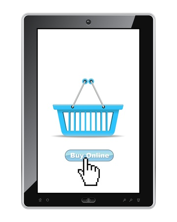 retail equipment: Buy online button on tablet realistic illustration  Illustration