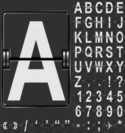 Alfabet in de luchthaven van aankomst en vertrek weergavestijl sjabloon. Makkelijk in elkaar te zetten alle woorden en cijfers.