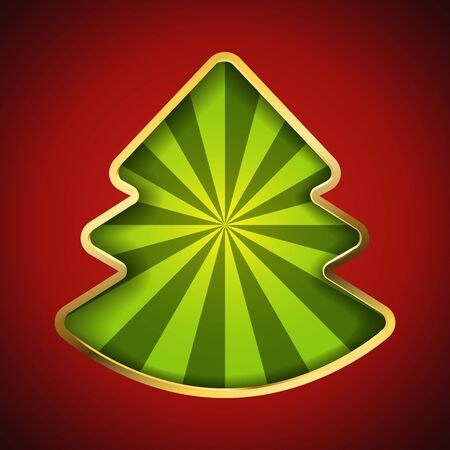 Abstract Christmas tree card with recessed green rays background. Vettoriali