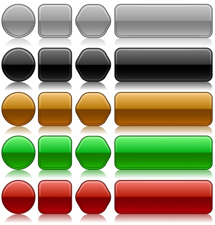 Metallic embossed blank buttons set in different colors and shapes  Vector