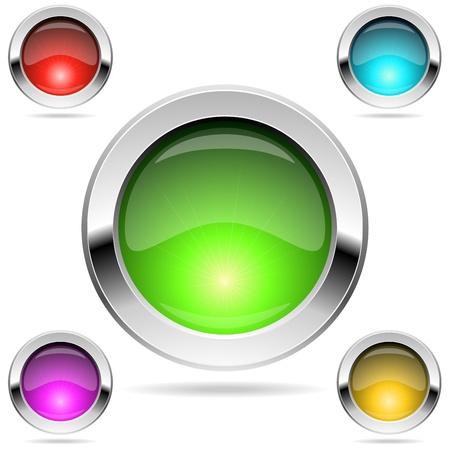 rimmed: Botones de colores brillantes redondos con marco cromado aislado en blanco Vectores