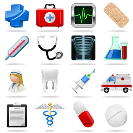 first aid kit: Medical icons and symbols set isolated on white. Illustration