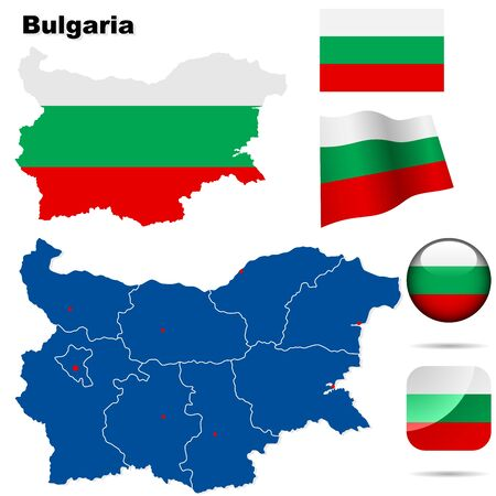 territories: Bulgaria set. Detailed country shape with region borders, flags and icons isolated on white background.