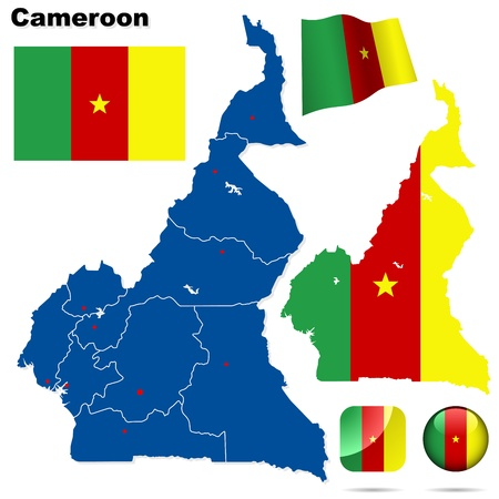 Cameroon set. Detailed country shape with region borders, flags and icons isolated on white background. Vector
