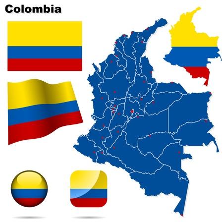 Colombia te stellen. Gedetailleerde land vorm met regio grenzen, vlaggen en pictogrammen geïsoleerd op een witte achtergrond.