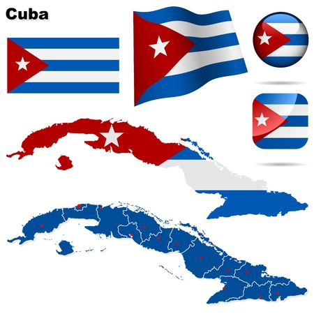 havana: Cuba vector set. Detailed country shape with region borders, flags and icons isolated on white background.