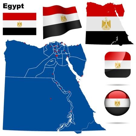 bandera de egipto: Egipto ajustado. Forma detallada país con las fronteras de la región, banderas e iconos aislados en fondo blanco.