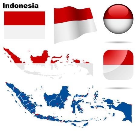 Indonesia estableci�. Forma detallada pa�s con las fronteras de la regi�n, banderas e iconos aislados en fondo blanco.