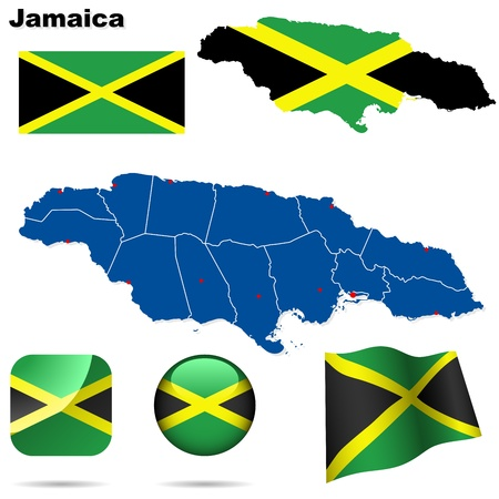 Jamaica set. Detailed country shape with region borders, flags and icons isolated on white background. Vector