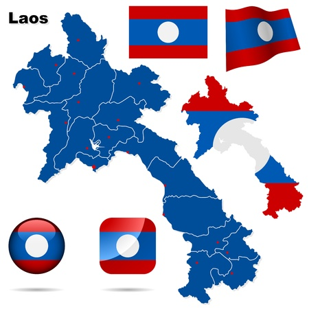 lao: Laos set. Detailed country shape with region borders, flags and icons isolated on white background.
