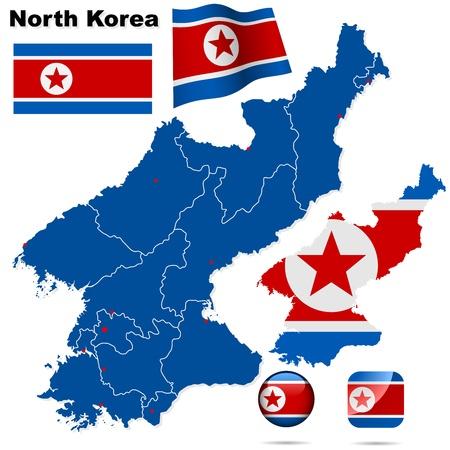 Corea del Norte establecido. Forma detallada pa�s con las fronteras de la regi�n, banderas e iconos aislados en fondo blanco.