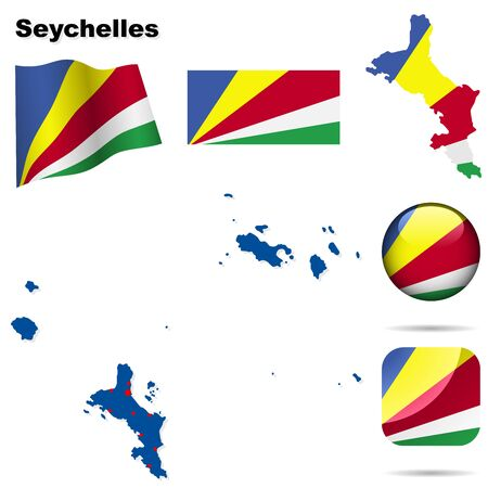 seychelles: Seychelles set. Detailed country shape with region borders, flags and icons isolated on white background.