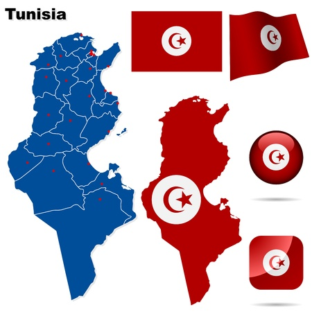 Tunisia set. Detailed country shape with region borders, flags and icons isolated on white background.