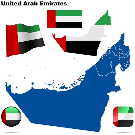 United Arab Emirates set. Detailed country shape with region borders, flags and icons isolated on white background. Vector