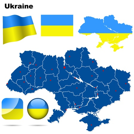Ukraine set. Detailed country shape with region borders, flags and icons isolated on white background. Vector