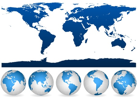 world map outline: Detailed blue and white world outline and globes isolated on white.  Illustration