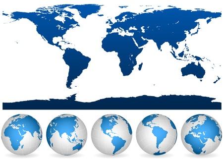 Gedetailleerde blauw en wit wereld omtrek en bollen geïsoleerd op wit.