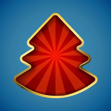 Abstract Christmas tree card with recessed red rays copy space