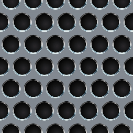 Seamless circle perforated metal grill  Vector