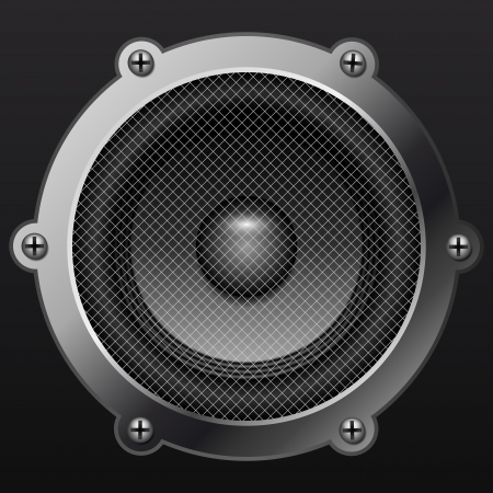 grille: Sound speaker isolates on black background realistic Illustration