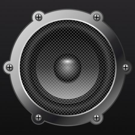 isolates: Sound speaker isolates on black background realistic Illustration