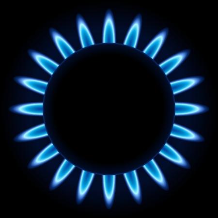 Blauwe vlammen ring van keuken gasbrander geïsoleerd op zwarte achtergrond. Stock Illustratie
