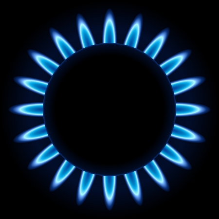flammable warning: Blue flames ring of kitchen gas burner isolated on black background. Illustration
