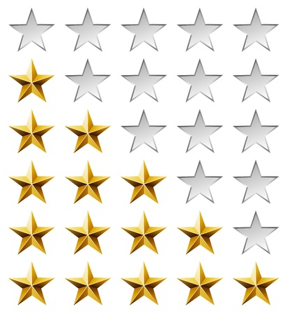 five stars: Golden stars rating template isolated on white background.
