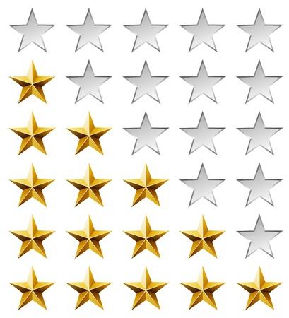 Gouden sterren beoordelingssjabloon geïsoleerd op een witte achtergrond.
