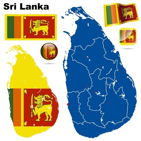 sri: Sri Lanka  set. Detailed country shape with region borders, flags and icons isolated on white background. Illustration