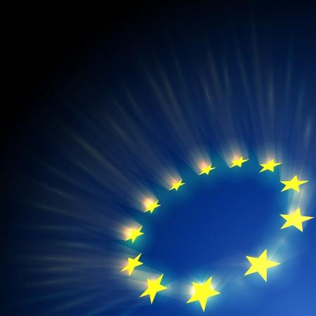 유럽: 유럽 연합 (EU) 별은 어두운 파란색 배경에 눈부심.